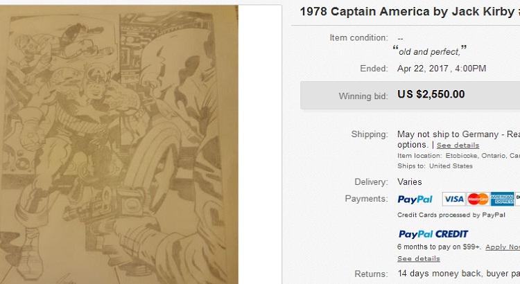 Wurde da etwa gefälschtes Jack Kirby Artwork für über 2.500 $ bei ebay verkauft?
