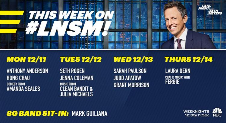 GRANT MORRISON am Mittwoch zu Gast in Seth Meyers' NBC Late Night Show